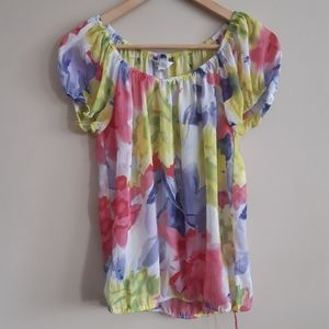 Cleo | semi sheer flouncy floral top